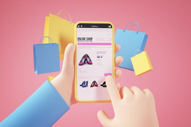 Winkelen online app concept 3d-rendering
