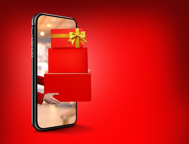 Winkelen online concept online winkel in mobiele telefoon