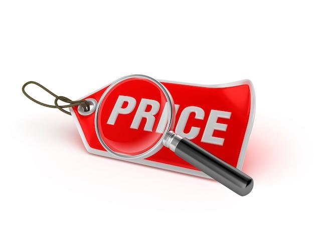 Winkelen prijskaartje met loep