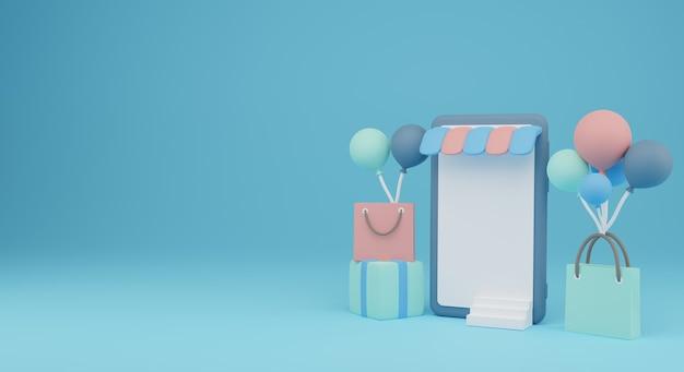 Winkelen via mobiele telefoon met boodschappentas en ballon 3d render illustratie. perfect om te winkelen banner