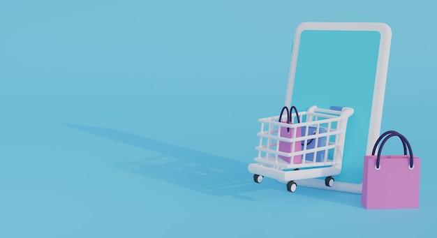 Winkelen via mobiele telefoon met wiel kar en boodschappentas 3d render illustratie. perfect om te winkelen banner