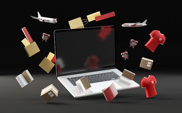 Winkelen zwarte vrijdag evenement met laptop