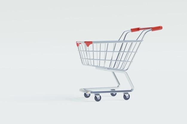 Winkelkarretje of winkelwagentje op isoleren witte achtergrond concept voor online winkelen.