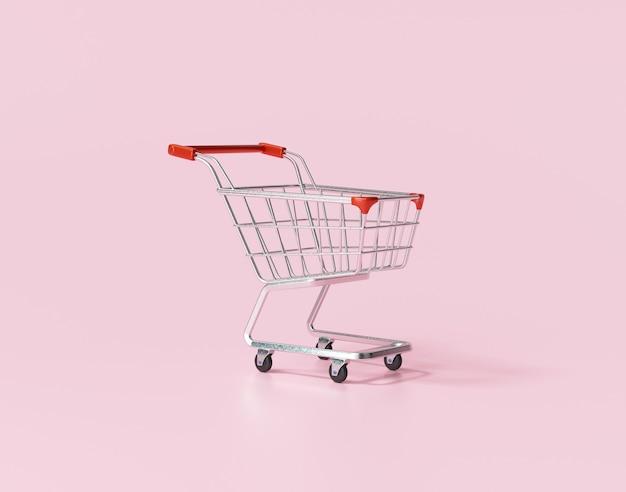 Winkelkarretje of winkelwagentje op roze achtergrondconcept voor online winkelen.
