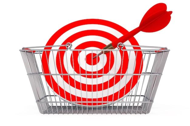 Winkelmandje met doel als darts op een witte achtergrond