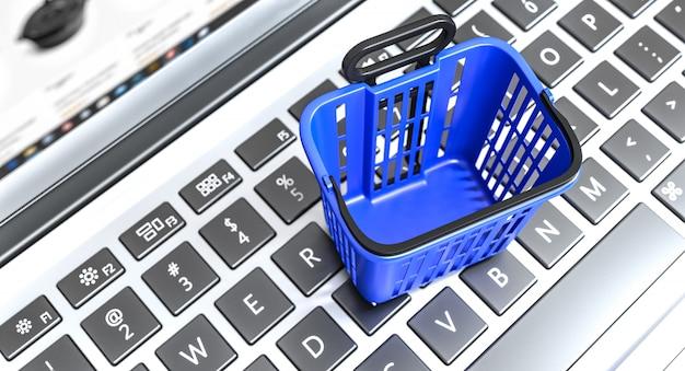 Winkelmandje van blauwe kleur op een toetsenbord van een laptop