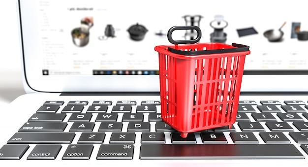 Winkelmandje van rode kleur op een toetsenbord van een laptop