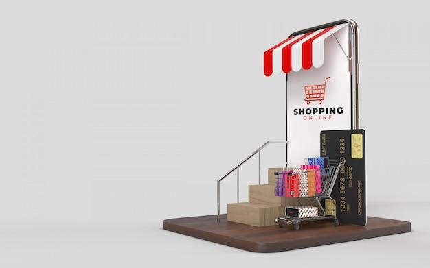 Winkelwagen, boodschappentassen, creditcard, de trap op en de tablet.dit is een online winkel op internet met een digitale markt