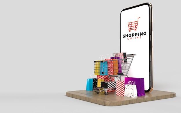 Winkelwagen, boodschappentassen, en de doos van het product en de telefoon, dat is een online winkel op internet digitale markt.