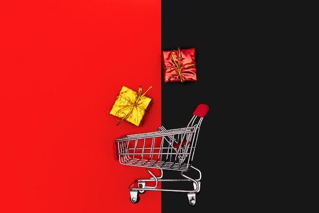 Winkelwagen en geschenkdoos, jaareinde verkoop en 11.11 singles dag verkoop concept