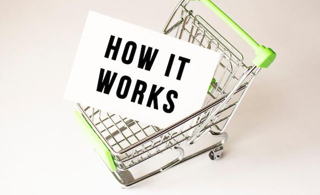 Winkelwagen en tekst hoe het werkt op wit papier. boodschappenlijstje concept op lichte achtergrond.