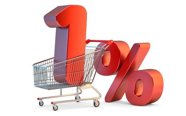 Winkelwagen met 1 procent korting teken 3d illustratie geïsoleerd