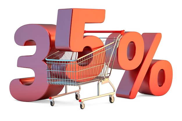 Winkelwagen met 35 procent korting teken 3d illustratie geïsoleerd
