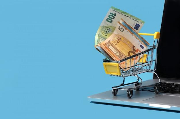 Winkelwagen met eurobankbiljetten binnen