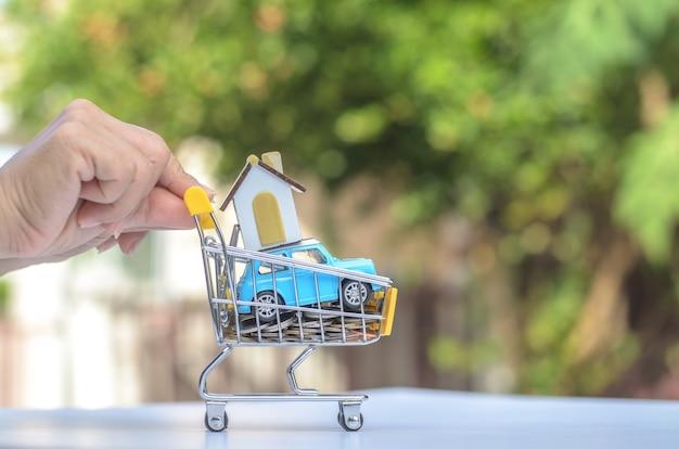 Winkelwagen met munten, huis, auto voor detailhandel. afbeeldingsgebruik voor online winkelen, marketingplaats wereldwijd, bedrijfsconcept.