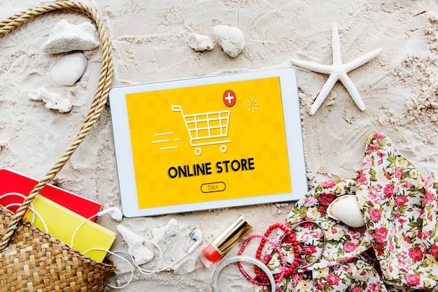 Winkelwagen toevoegen koop nu online commerce graphic concept