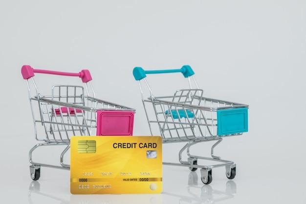 Winkelwagenmodellen met de creditcard. e-commerce winkelen.