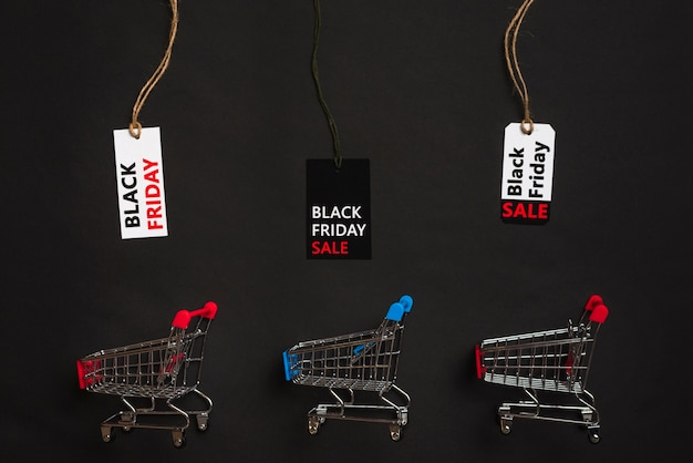 Winkelwagens en labels met verkooptitels