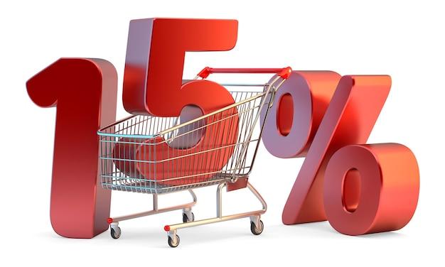 Winkelwagentje met 15 procent korting teken 3d illustratie