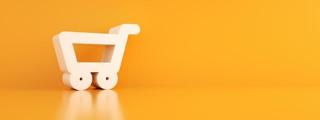 Winkelwagentje over oranje achtergrond, panoramische mock-up, 3d render