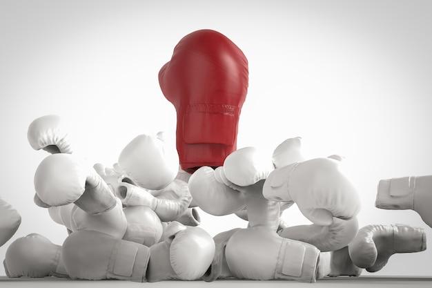 Winnaar concept met 3d-rendering rode bokshandschoenen