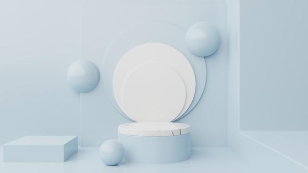 Winnaar podium abstracte compositie met blauw.