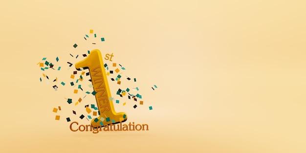 Winnaar tekst achtergrond 1e plaats overwinning en felicitatie bericht 3d illustratie