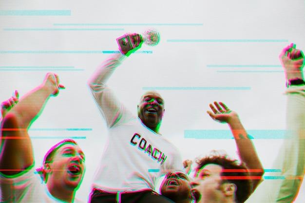 Winnend sportteam met glitch-overlay in 3d-toon