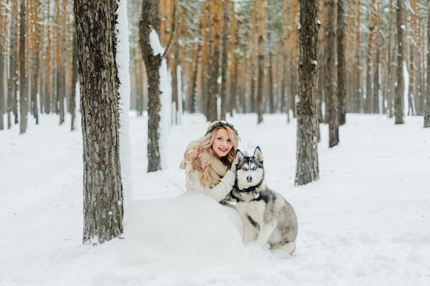 Winter bruiloft fotosessie in de natuur
