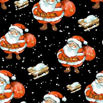 Winter christmas vintage naadloze patroon. leuke kerstman met rustieke houten slee.