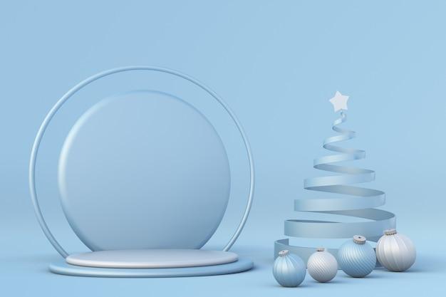 Winter feestelijk blauw 3d podium kerstboom en ballen vakantiesjabloon mock-up podiumvoetstuk