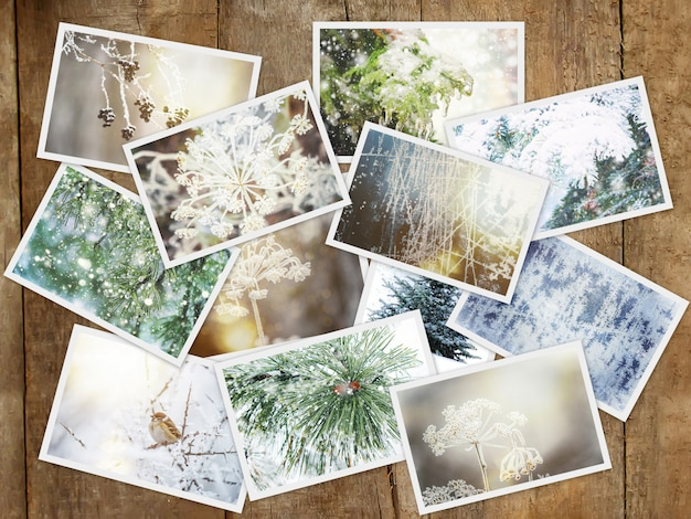 Winter fotocollage. selectieve aandacht. natuur winter