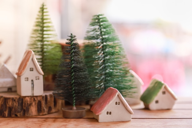 Winter, herfst en kerstmis en vakantie seizoen concept.