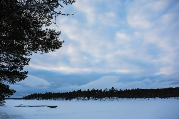 Winter in het inari-meer