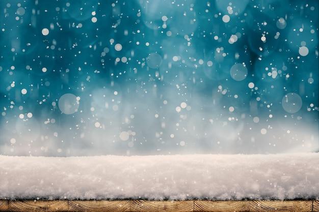 Winter kerst achtergrond met sneeuw op het hout