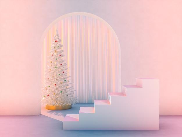 Winter kersttafereel met iriserende podiumachtergrond voor productvertoning.