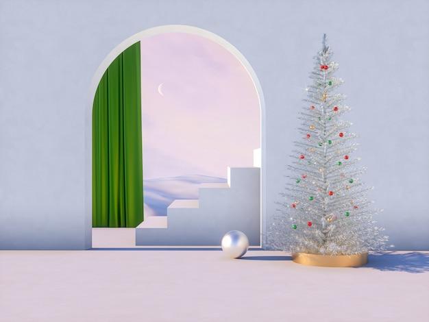 Winter kersttafereel met podium achtergrond voor productvertoning. Premium Foto