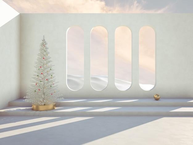 Winter kersttafereel met podium achtergrond voor productvertoning.