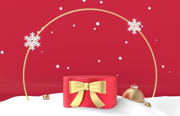 Winter kersttafereel met rode podium achtergrond voor productvertoning.