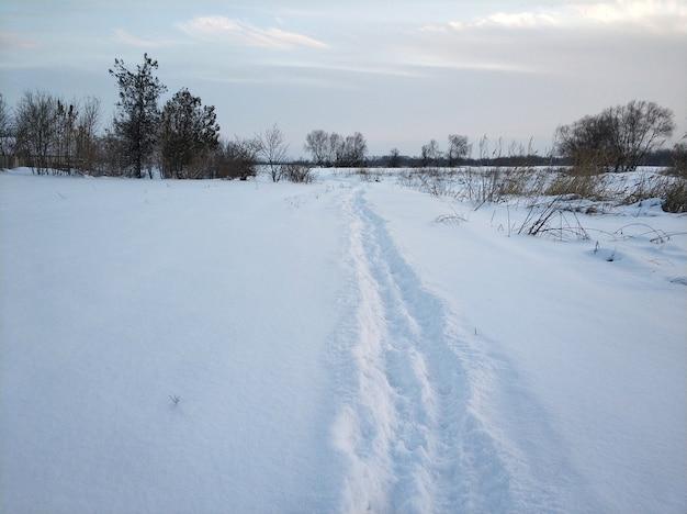 Winter landschap. een ver dorp in het koude deel van de planeet. witte sneeuw bedekte weg.