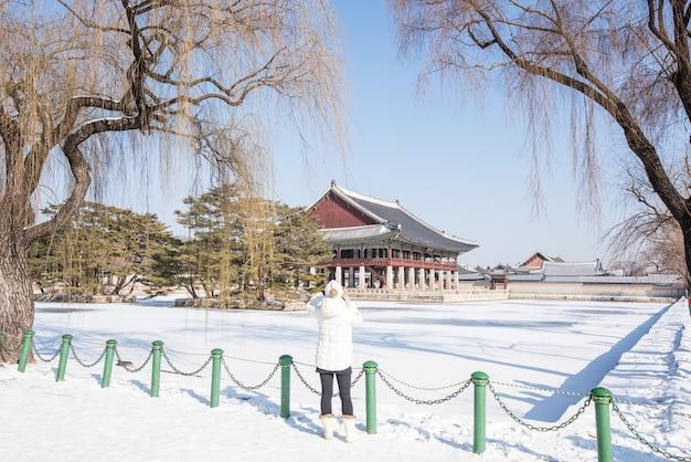 Winter van gyeongbok-paleis in korea