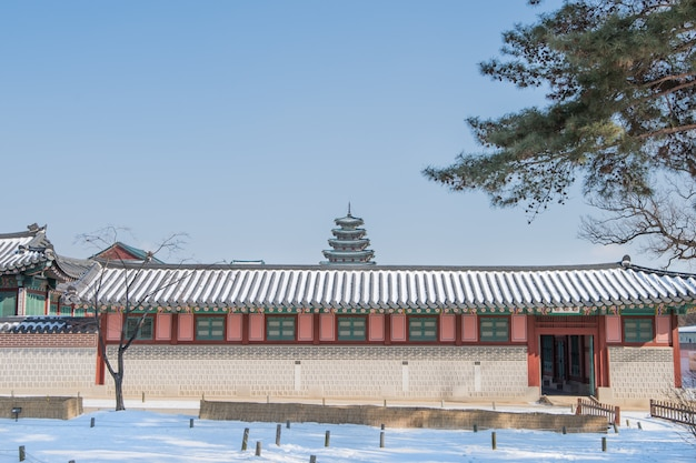 Winter van gyeongbok-paleis in korea