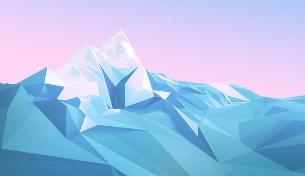 Winter veelhoekige afbeelding van een bergachtig gebied met een gletsjer bovenop een berg. 3d-afbeelding
