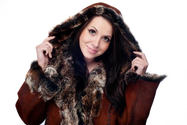 Winter vrouw. glimlach