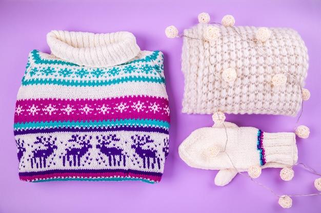 Winter vrouwelijke outfit. set kleding en accessoires