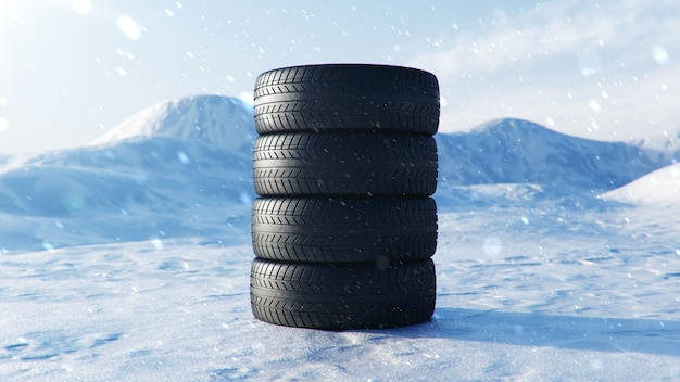 Winterbanden op blauwe hemelachtergrond, sneeuwval en gladde winterweg. winter concept verkeersveiligheid