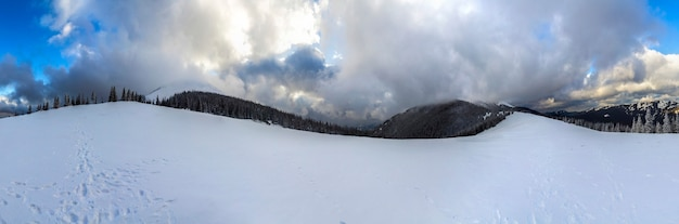 Winterberglandschap met besneeuwde pijnbomen en lage wolken