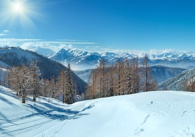 Winterbos bij dachstein-bergmassief en skipiste (oostenrijk)