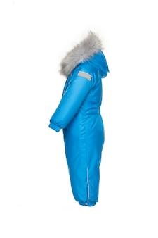 Winterkleding voor kinderen om te wandelen met bontkap blauwe elektrische kleur
