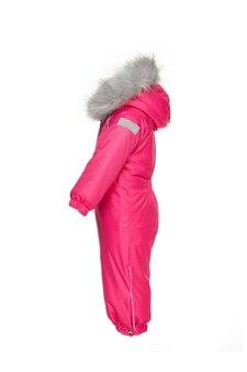 Winterkleding voor kinderen om te wandelen met roze kleur bont capuchon